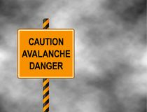Yellow Bord isolated on a grey sky. A sign warning skiers and snowboarders that the are caution avalanche danger. Vector illustrat. Ion Royalty Free Stock Photo