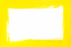 Yellow border painted on white paper. Yellow color border painted on white paper Royalty Free Stock Images
