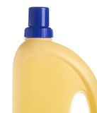 Yellow bottle of domestic cleaner. Isolated on white. Fragment Stock Image