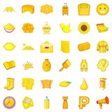 Yellow bottle icons set, cartoon style Stock Images