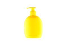 Yellow bottle for liquid soap from a dispenser Stock Images