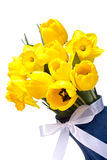 Yellow Bouquet Of Tulips With A White Ribbon Stock Photography