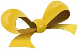 Yellow bow for gift box Stock Photo
