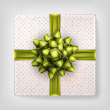 Yellow bow gift box top view. EPS 10. Yellow bow gift box top view for Christmas and New Year s Day gray background. EPS 10 vector file included royalty free illustration