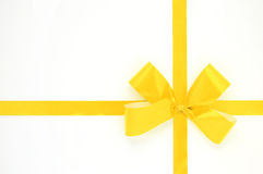 Yellow bow isolated over white background Royalty Free Stock Photography