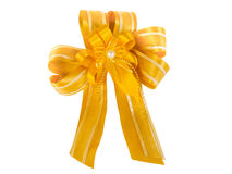 Yellow bow isolated on white Stock Images