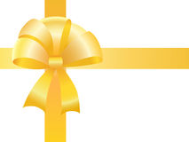 Yellow bow with tapes for packing of a gift Stock Images