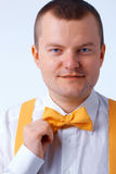 Yellow bow tie Royalty Free Stock Images