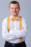 Yellow Bow Tie and Brases. Royalty Free Stock Photo