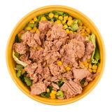 Yellow bowl tuna salad Stock Image