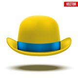 Yellow bowler hat on a white background. vector Royalty Free Stock Photos