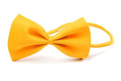Yellow bowtie isolated on white Stock Photography