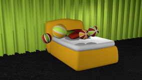Yellow box spring on black carpet floor. In front of apple green curtains with softballs and pillows. 3d rendering stock illustration
