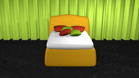Yellow box spring with cushions. In front of an apple green curtain on black carpet floor vector illustration