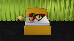 Yellow box spring from front view. On black carpet floor in front of apple green curtains with softballs and pillows. 3d rendering stock illustration