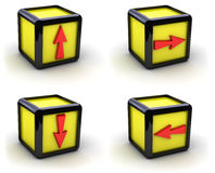 Yellow boxes with arrows. Set of yellow boxes with arrows (image can be used for printing or web Royalty Free Stock Photo