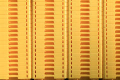 Yellow boxes on a marketplace as an abstract background pattern Royalty Free Stock Photography