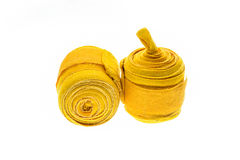 Yellow boxing wraps or bandages isolated on white Royalty Free Stock Images