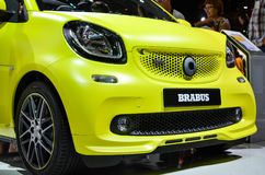 Yellow Brabus smart fortwo cabrio at MIAS 2016. In Russia Royalty Free Stock Photography