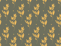 Yellow branches on gray Royalty Free Stock Image