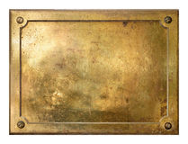 Yellow brass metal plate border stock photography