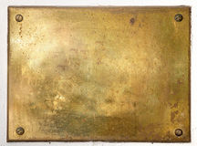 Yellow brass metal plate border. Brass yellow metal plate framed background texture stock photography
