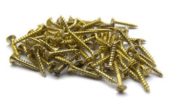 Yellow Brass Screws With a Philips Crosshead Stock Photos