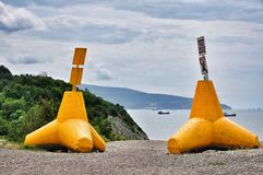 Yellow breakwater Royalty Free Stock Image