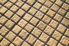 Yellow brick floor pavement Royalty Free Stock Photo
