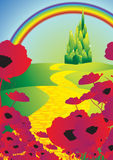 Yellow brick road 2. Emerald city with poppies and rainbow Royalty Free Stock Image