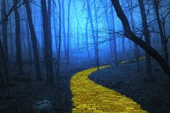 Yellow Brick Road leading through a spooky forest. The yellow brick road leading through a spooky foggy forest like in the Wizard of Oz stock illustration