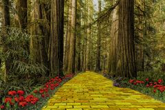 Free Yellow Brick Road Leading Through A Forest Stock Photo - 109635170