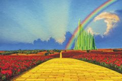 Yellow Brick Road to the Emerald City. Winding Yellow Brick Road to the Emerald City with storm clouds and rainbow over fields of red poppies royalty free stock images