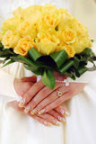 Yellow bridal bouquet Stock Images