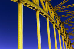 Yellow bridge. On the background of blue night sky.nThis photo was taken in town Gdansk Poland Stock Photos