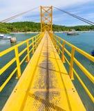 The yellow bridge between nusa ceningan and nusa lembongan Stock Images