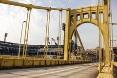 Yellow Bridge and PNC Park Stock Photography