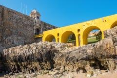 Fortress and bridge. Peniche. Portugal Stock Photos
