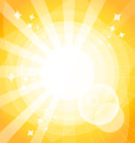 Yellow bright background with rays. Vector illustration. Eps 10 Royalty Free Stock Photos