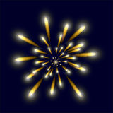 Yellow bright firework in the sky. Vector illustration Stock Images