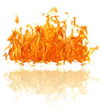 Yellow bright large fire with reflection isolated on white Stock Photography