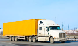 Yellow bright truck Stock Images