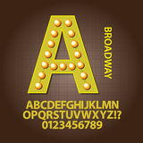 Yellow Broadway Alphabet and Numbers Vector royalty free illustration