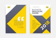 Yellow brochure cover design with X shape geometric background - stock illustration