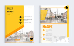 Yellow brochure cover set business vector design. Leaflet advertising background with blured city. Modern magazine Royalty Free Stock Image