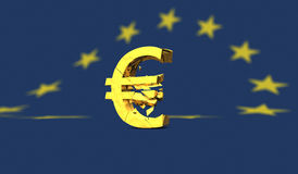 Yellow broken euro sign or symbol on european flag vector illustration