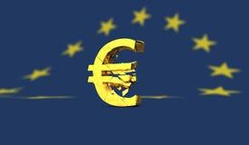 Yellow broken euro sign or symbol on european flag Royalty Free Stock Images
