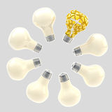 Yellow broken light bulb surrounded by white ones Royalty Free Stock Photos