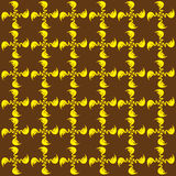 Yellow and brown background. Illustration of a background composed of  small yellow leafy twirling floral patterns on brown Stock Photos