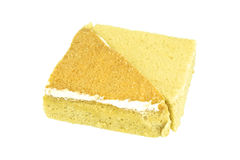 Yellow and brown coffee chiffon cake isolated Royalty Free Stock Photos